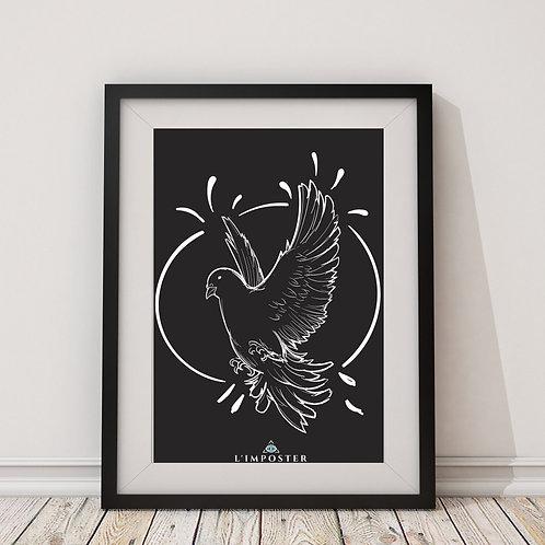 Affiche colombe cercle noir