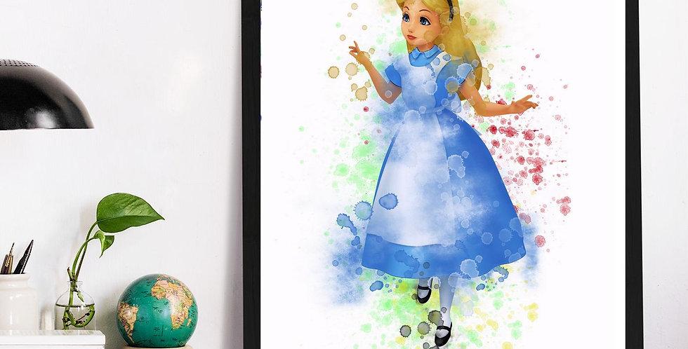 Affiche Alice aux pays watercolor 527