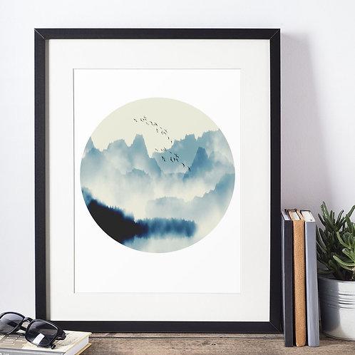 Affiche illustration paysage