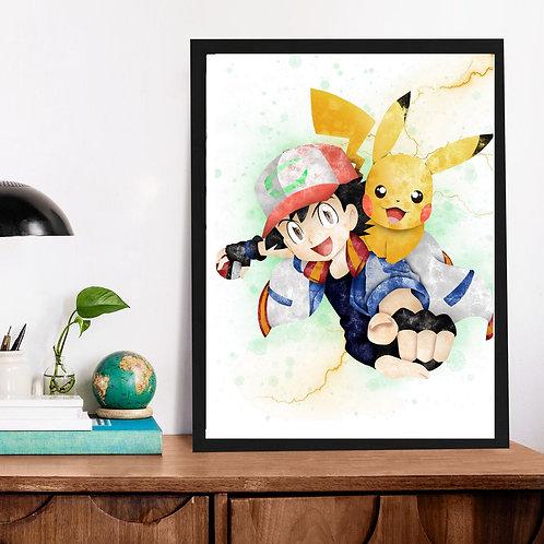 Affiche Pikachu watercolor