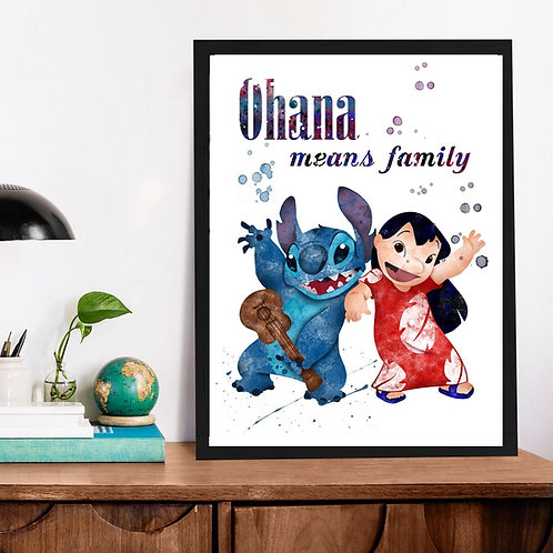 Affiche Stitch watercolor