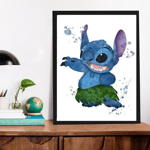 Affiche Stitch watercolor