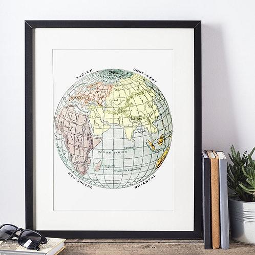 Affiche planète terre globe