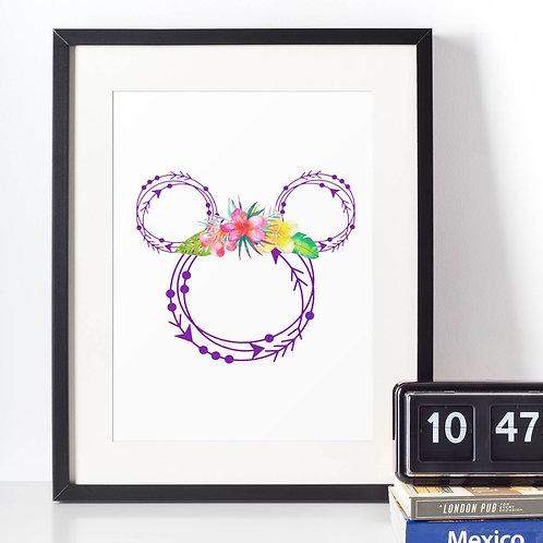 Affiche Dessin Mouse fleur