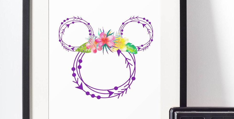 Affiche Dessin Mouse fleur 495