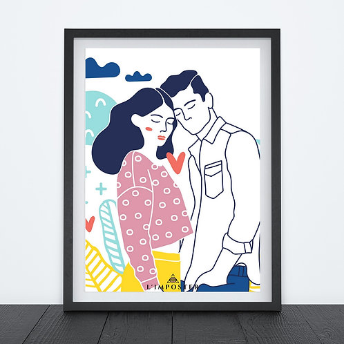 Affiche couple en dessin