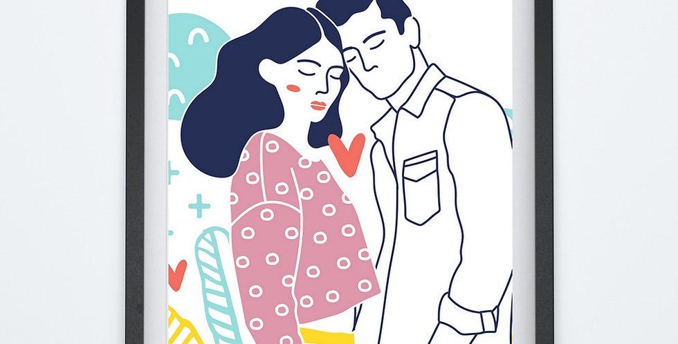 Affiche couple en dessin 240