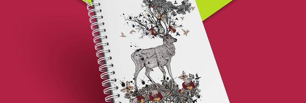 Cahier à spirale Cerf et oiseaux
