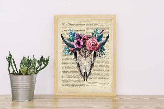 Affiche vintage Cerf skull et fleurs