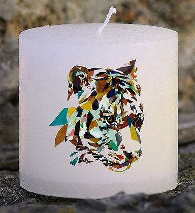 Bougie Personnalisée Nany Plumes Tigre origami watercolor
