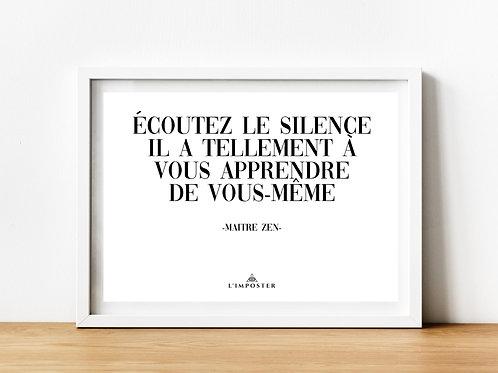 Affiche citation écoutez le silence