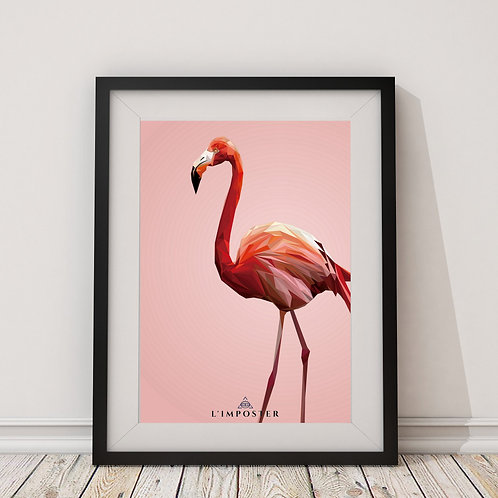 Affiche Flamand roses origami