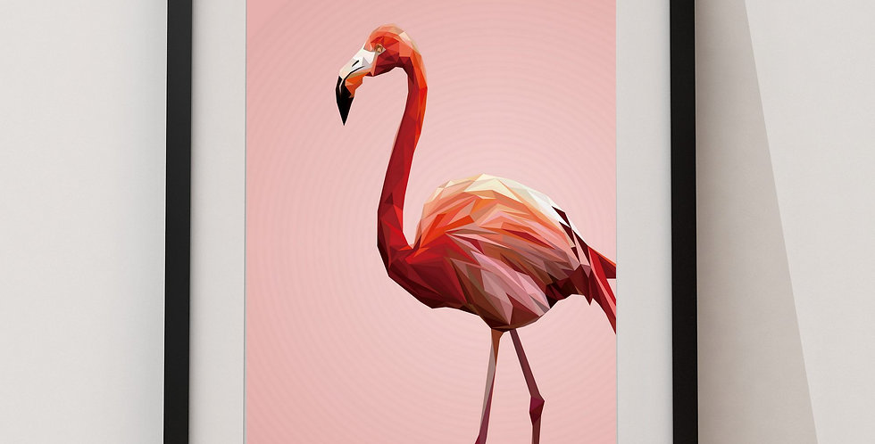 Affiche Flamand roses origami 29