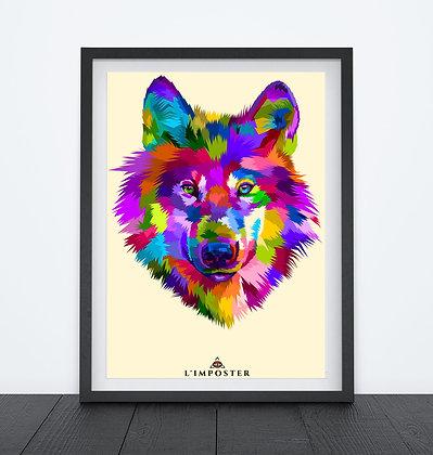 Affiche Loup multicolors origami 74