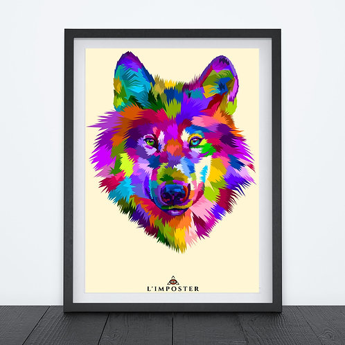 Affiche Loup multicolors origami