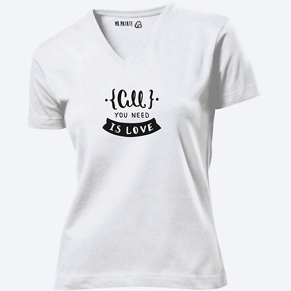 T-shirt Femme Col V All you need is love