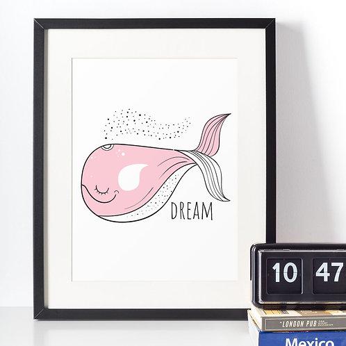 Affiche illustration baleine