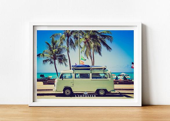 Affiche Photo d'un van sur une plage 226