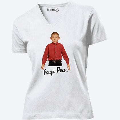 T-shirt Femme Col V Poupi pou Malcom