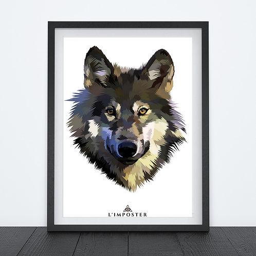 Affiche loup effet peinture 246