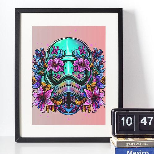 Affiche tête de mort fleuries