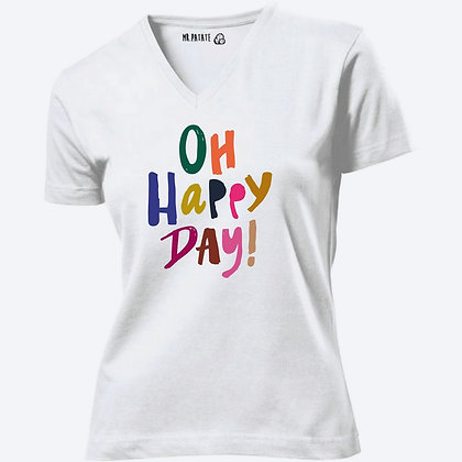 T-shirt Femme Col V Oh Happy day