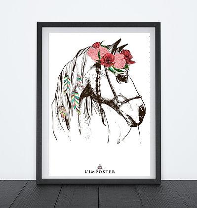 Affiche cheval et son chapeau de fleurs 252
