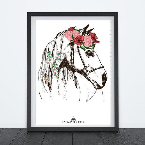 Affiche cheval et son chapeau de fleurs
