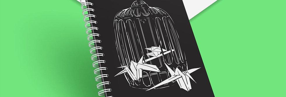 Cahier à spirale Cage oiseaux origami