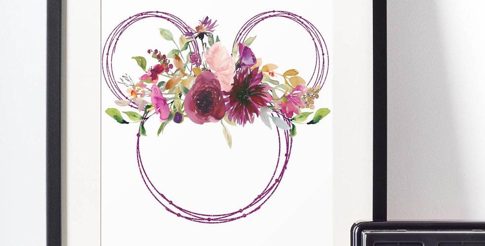 Affiche Dessin Mouse fleur 497