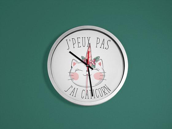 Horloge imprimé J'peux pas j'ai caticorn