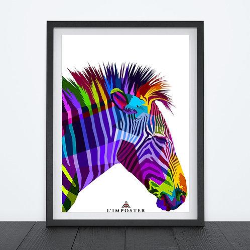 Affiche Zèbre multicolors origami