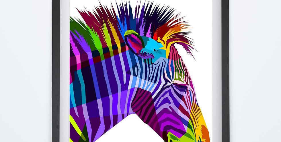 Affiche Zèbre multicolors origami 76