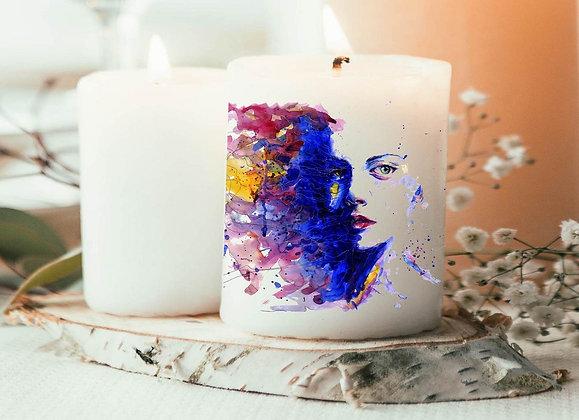 Bougie pas cher, bougie imprimée aquarelle, idée deco tendance pas cher, idée cadeau noël, idée cadeau pas cher cadeau