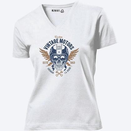 T-shirt Femme Col V Tête de mort swag