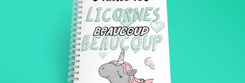 Cahier à spirale citation j'aimes les licornes beaucoup