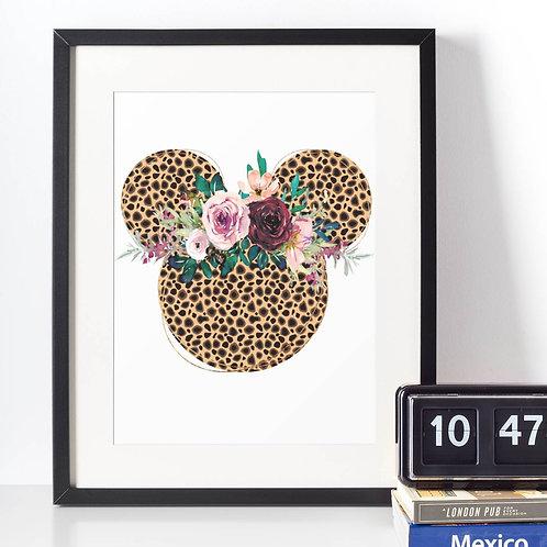 Affiche Dessin Mouse léopard fleur