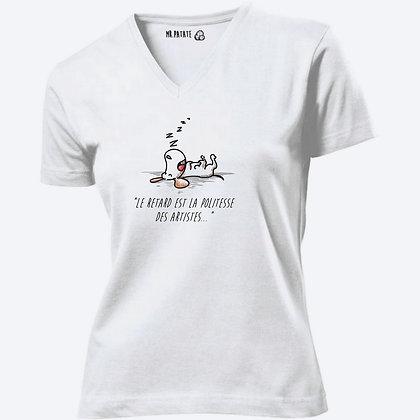 T-shirt Femme Col V Citation retard