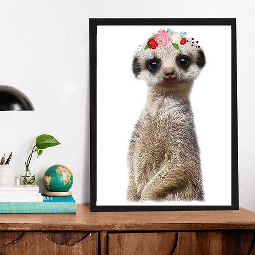 Affiche Lémurien et fleurs