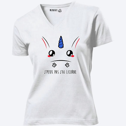 T-shirt Femme Col V J'peux pas j'ai licorne