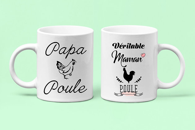 Duo Mugs Véritable maman poule et papa poule citation 07