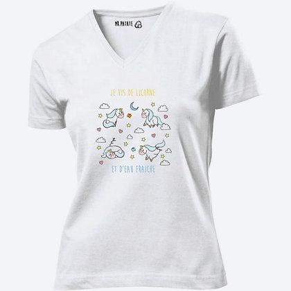 T-shirt Femme Col V Licorne citation