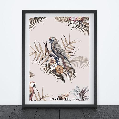 Affiche Perroquet et fleurs