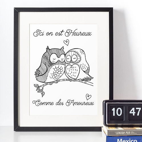 Affiche illustration citation hibou
