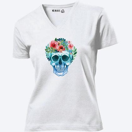 T-shirt Femme Col V tête de mort fleurs