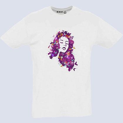 T-Shirt Unisexe illustration femme et papillons
