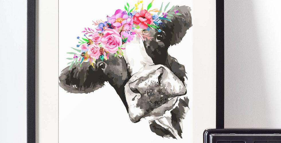 Affiche Vache watercolor 509