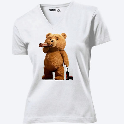 T-shirt Femme Col V femme Nounours funny