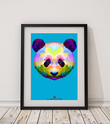 Affiche Panda multicolors origami 75