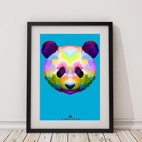 Affiche Panda multicolors origami